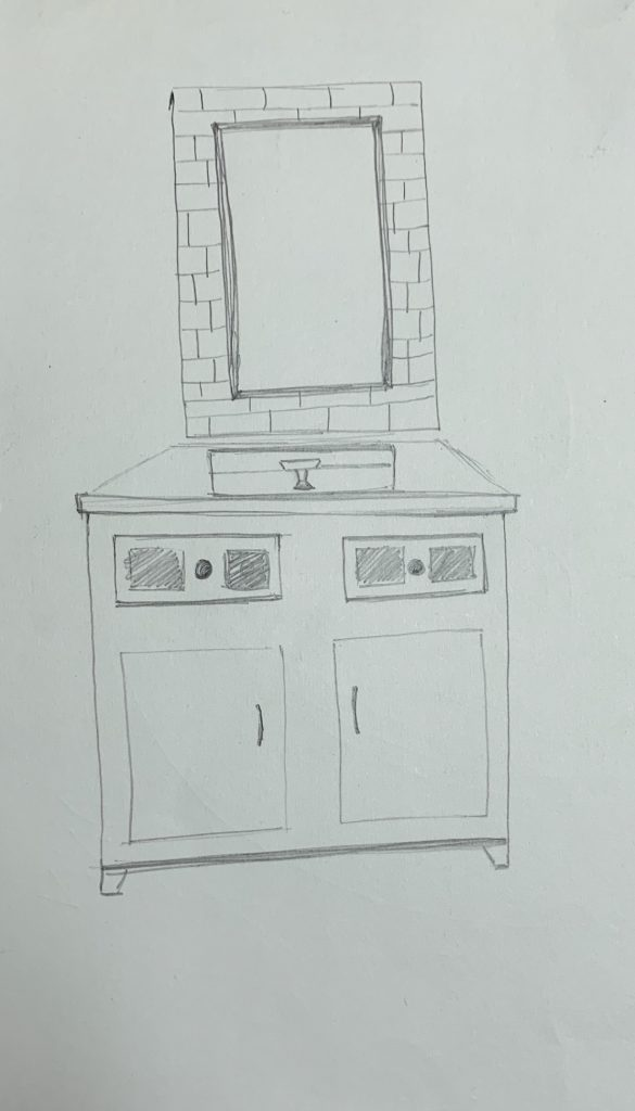 A sketch of a washroom sink