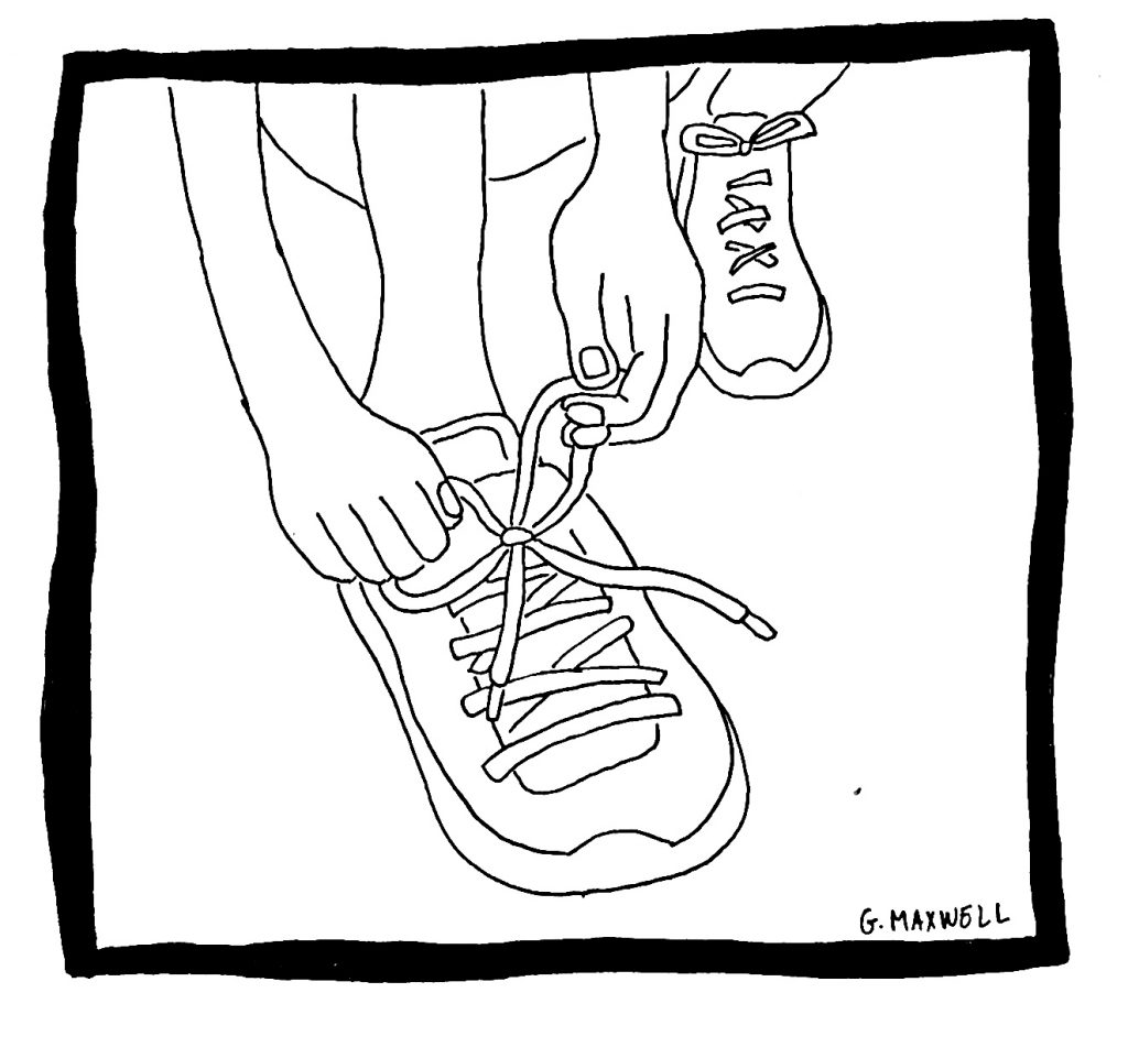 cartoon drawing of hands tying up running shoe laces