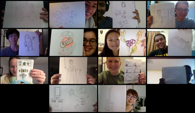 zoom screenshot of smiling Grad students holding up their beautiful drawings