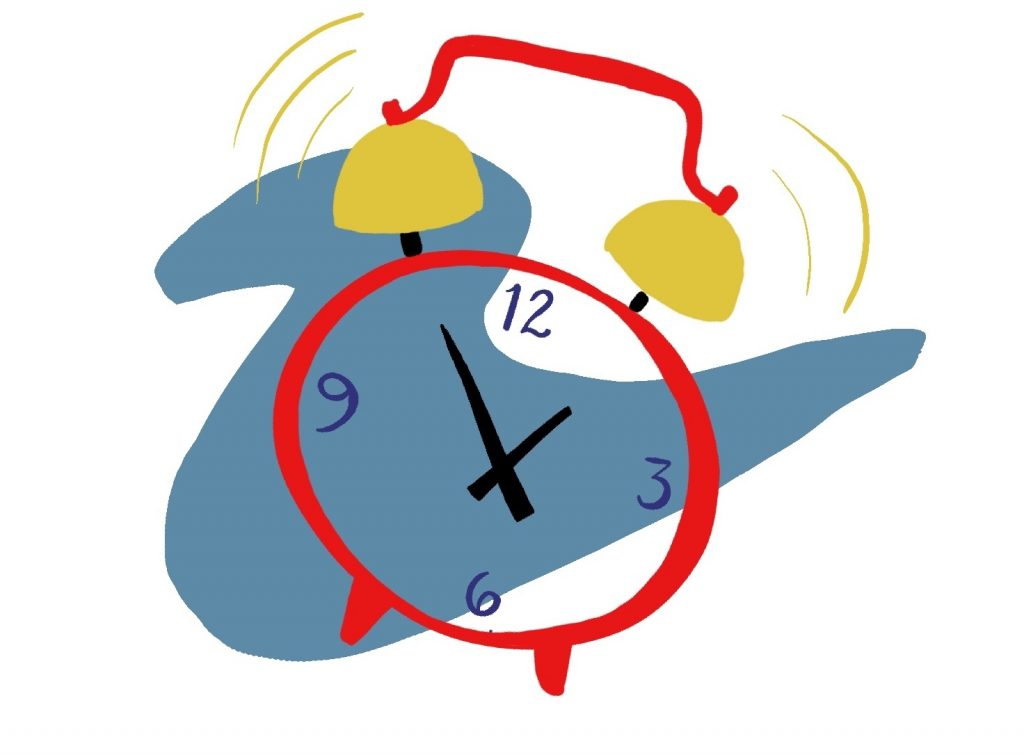 doodle of an alarm clock going off