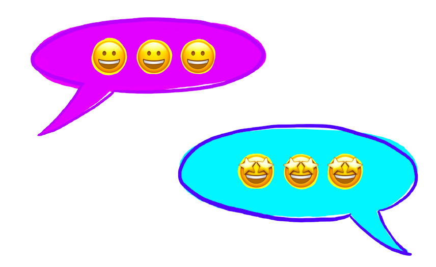 image of two speech bubbles both filled with smiling emojis