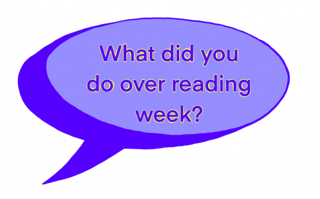 "a blue speech bubble reads ""what did you do over reading week?"""