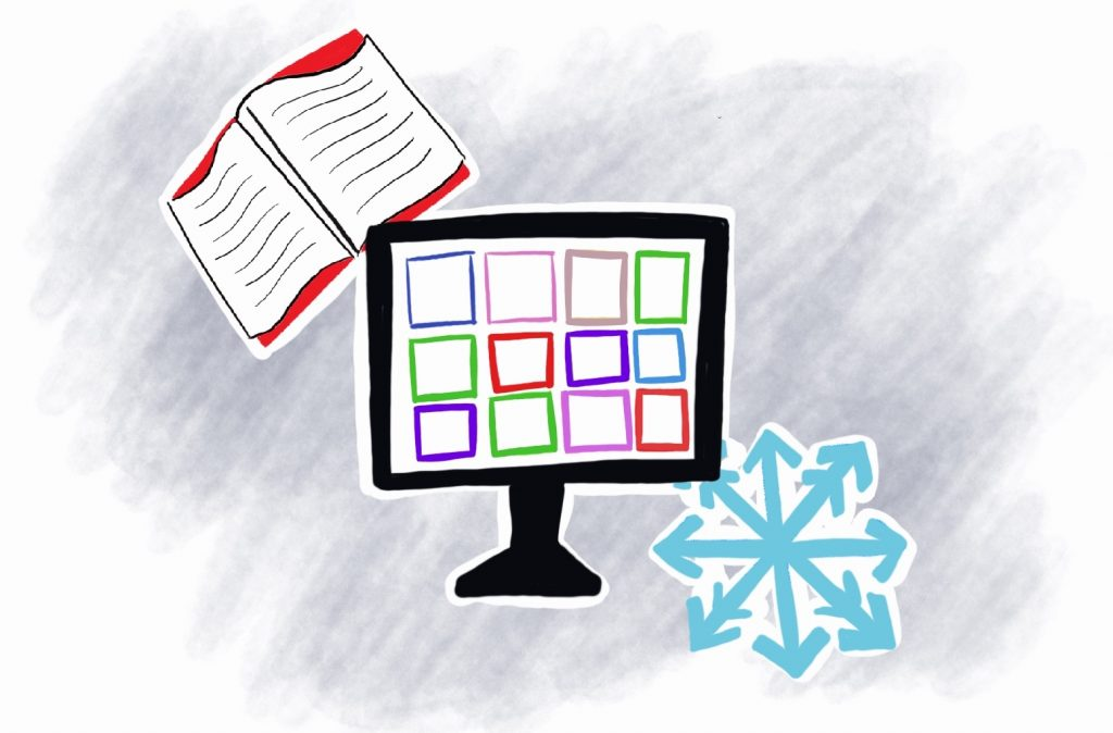 drawing of a computer with a zoom screen surrounded by an open book and a snowflake