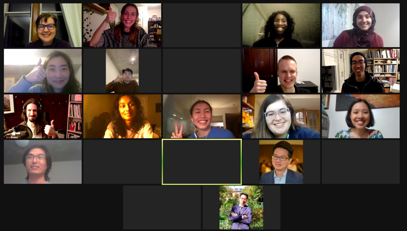 zoom screenshot of smiling students with their thumbs up