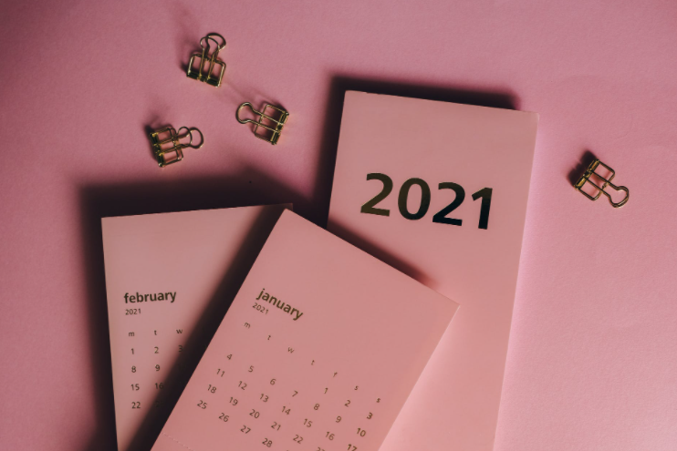 pink calendar on a pink background