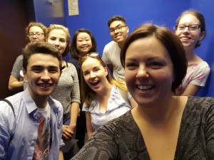 The Innovation Hub student leader team in a smiling selfie in the iSchool elevator