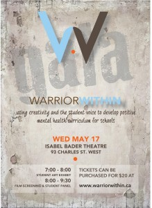 "A poster that says ""Warrior Within"" and lists event information"