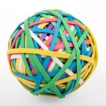 A ball made of colourful rubber bands
