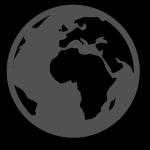Grey icon of a globe