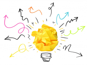 Innovation Hub Logo: A yellow piece of paper is crumbled up, with added doodles that make it resemble a lightbulb.