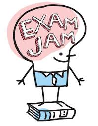 "Cartoon of smiling light bulb with ""EXAM JAM"" written on it, standing on a book"