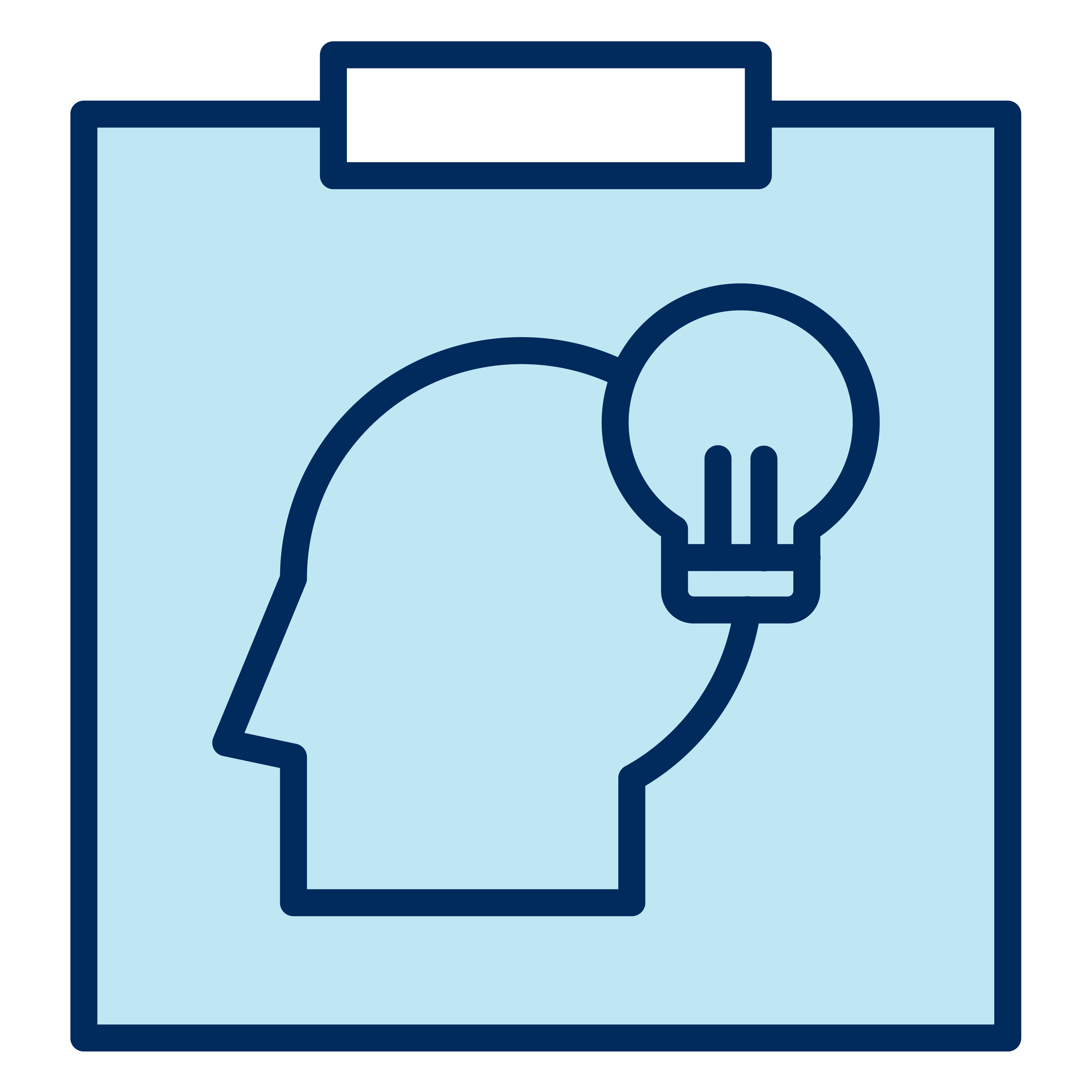 Sticky note with a profile of an individual and a light bulb on it.