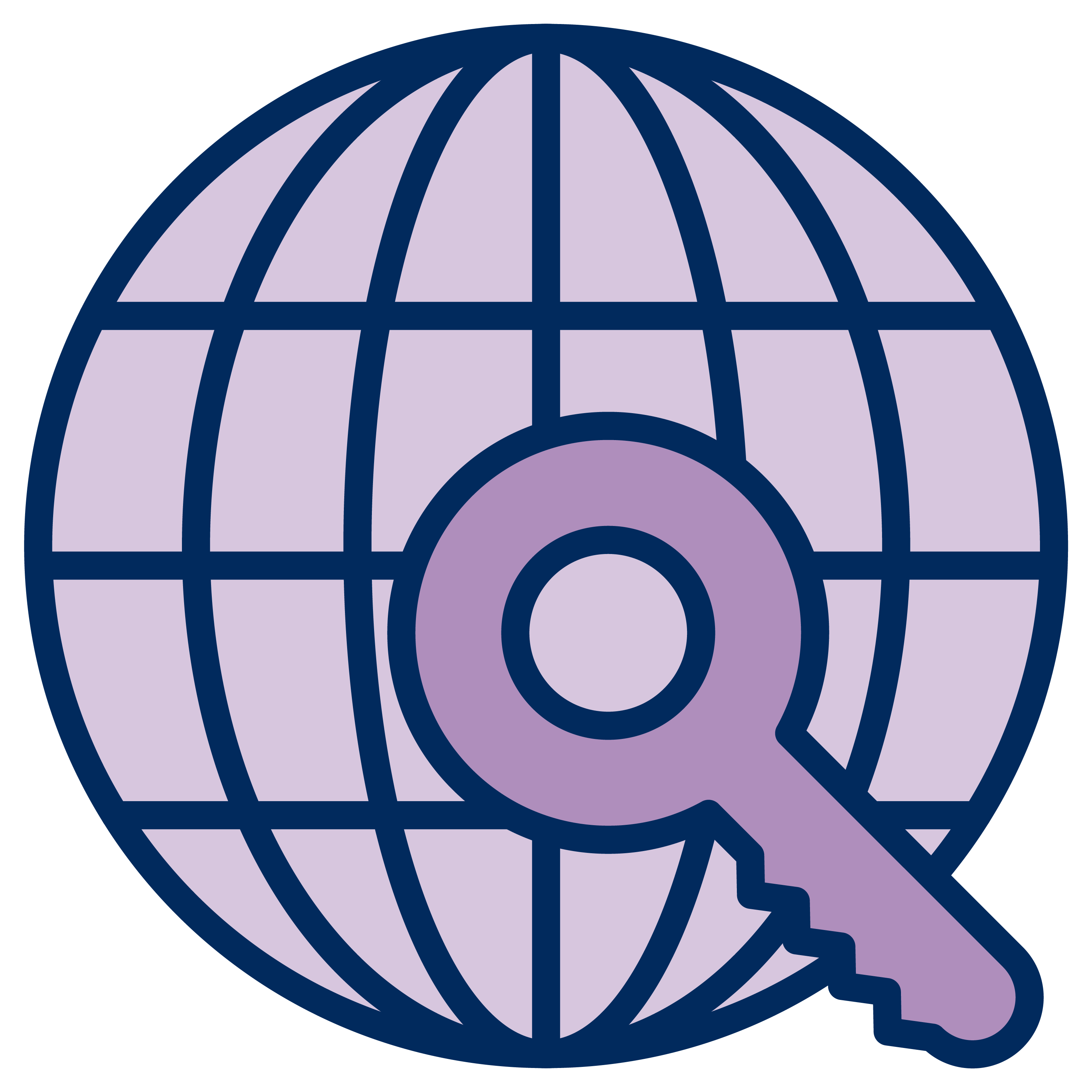 Icon of a globe with a universal key.
