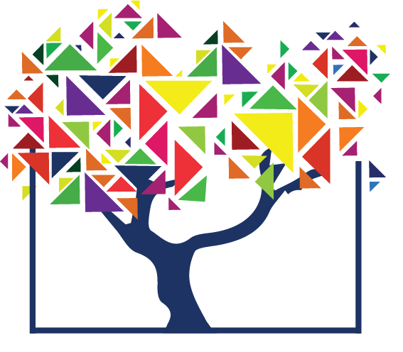 A tree with colourful triangles as leaves, growing outside the walls of a box