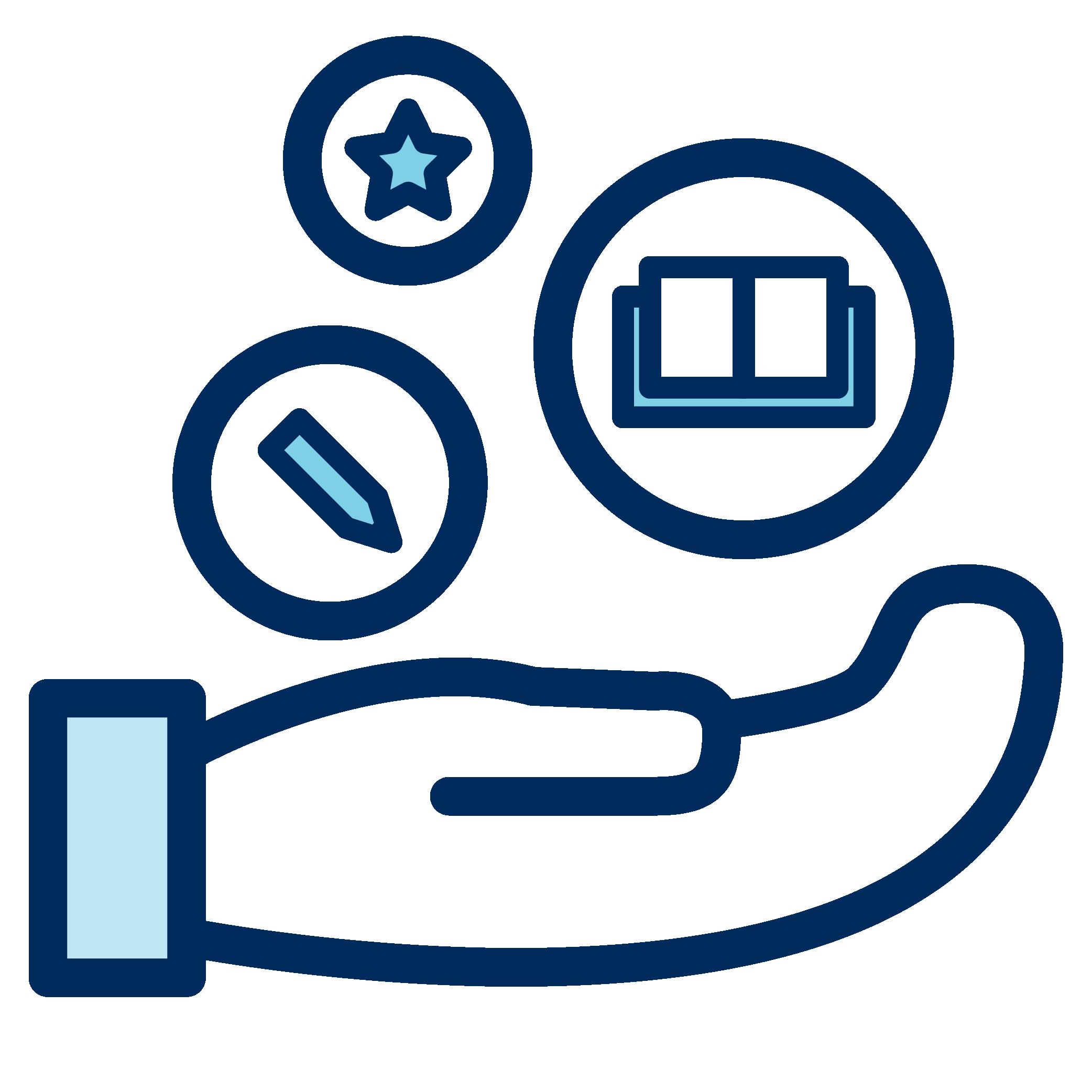 Resource exchange logo. Hand holding resources.