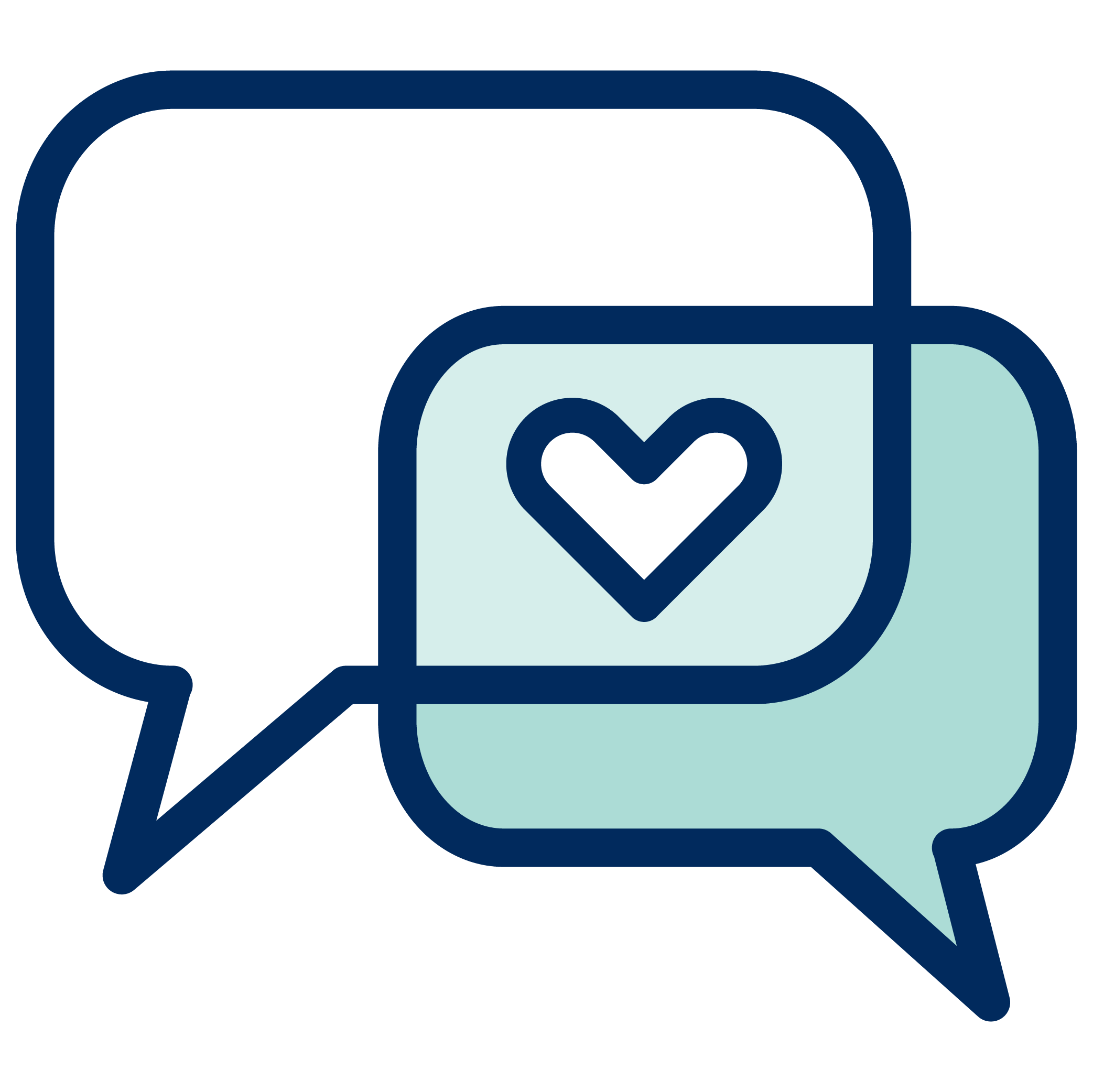 Two speech bubbles overlapped with a heart in the centre.