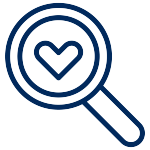 Magnifying glass with a heart in the middle. Looking for hope and love