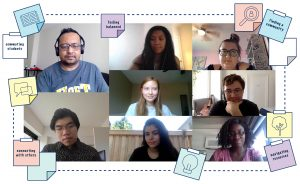 """A mosaic of students connecting over Microsoft Teams, with sticky notes around the outside with writing on them such as """"navigating resources"""" or """"commuting students"""". Dashed lines and icons are connecting with one another to visualize collaboration in research."""