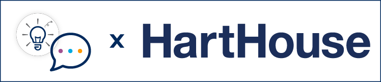 Innovation Hub's light bulb logo, the Stories from a Distance speech bubble logo and the Hart House logo.