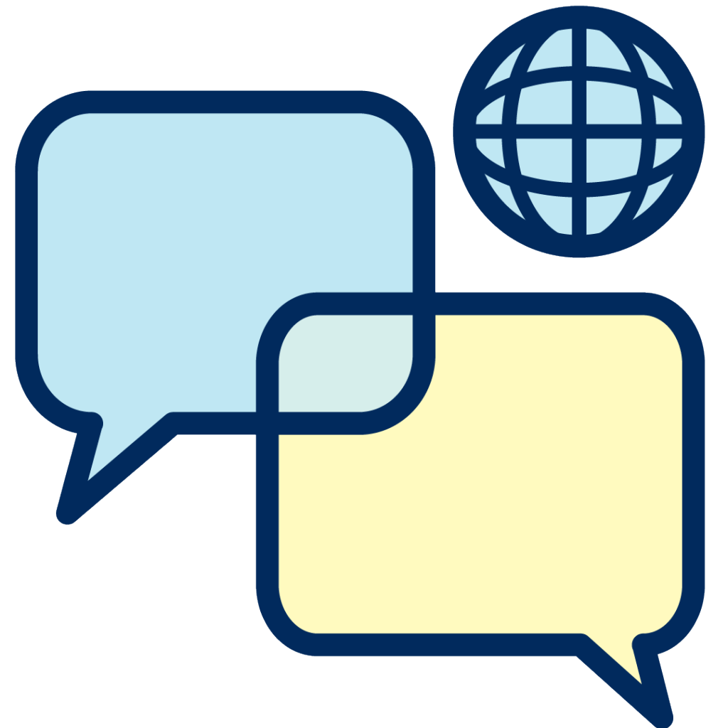 Two speech bubbles overlapping with an icon of a globe in the top right-hand corner