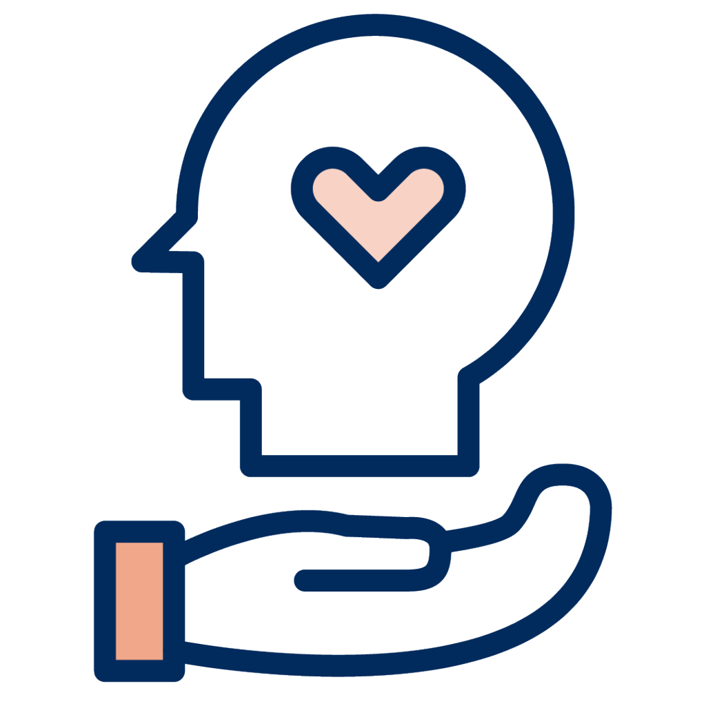 Icon of a hand holding up an icon of an individual with a heart to convey support and trust