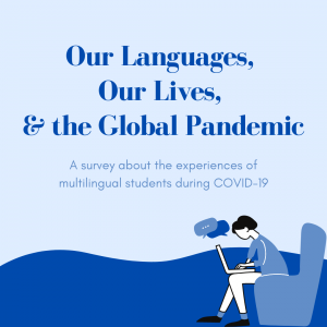 """Blue illustration with """"Our Languages, Our Lives and the Global Pandemic"""" with an individual sitting in front of a laptop"""