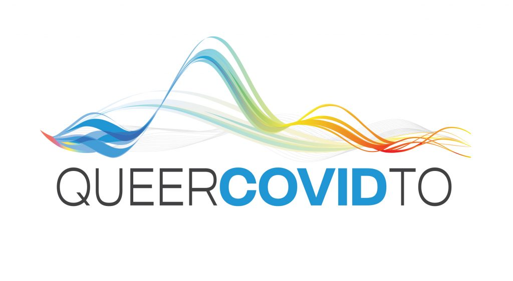 Queer Covid TO with colourful lines and illustrations throughout the text.