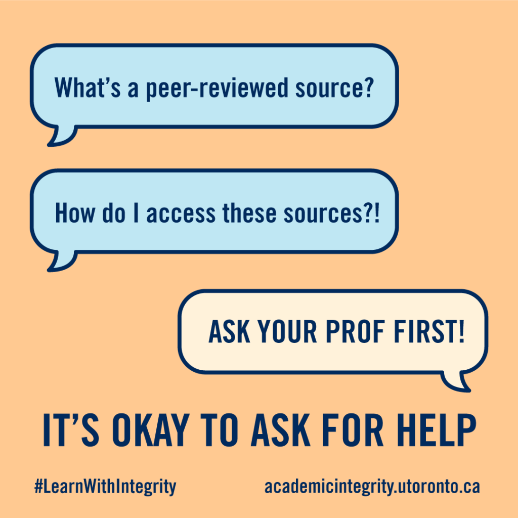 Speech bubbles of a conversation about how to access academic sources