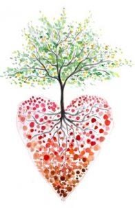 A tree growing inside a heart.