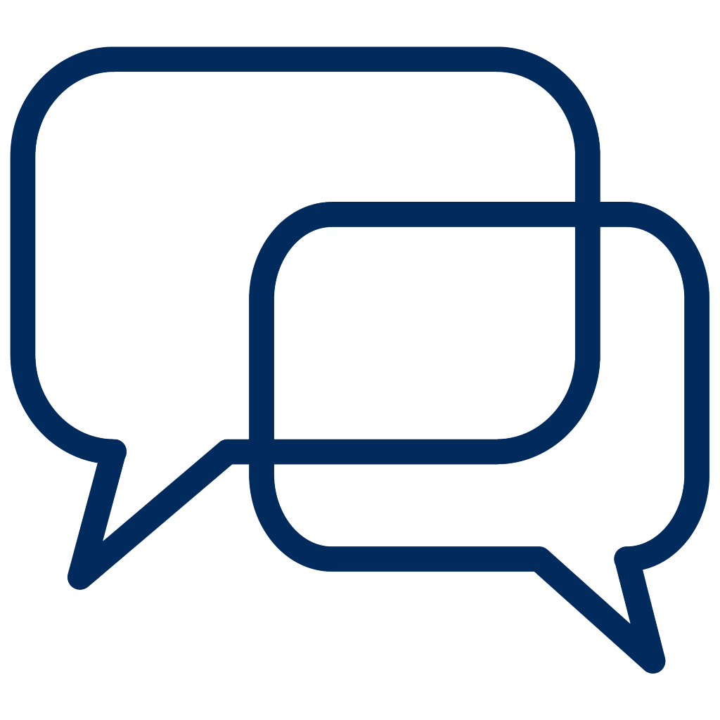 An icon of two conversation bubbles overlapping.