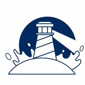 A lighthouse with water crashing from behind