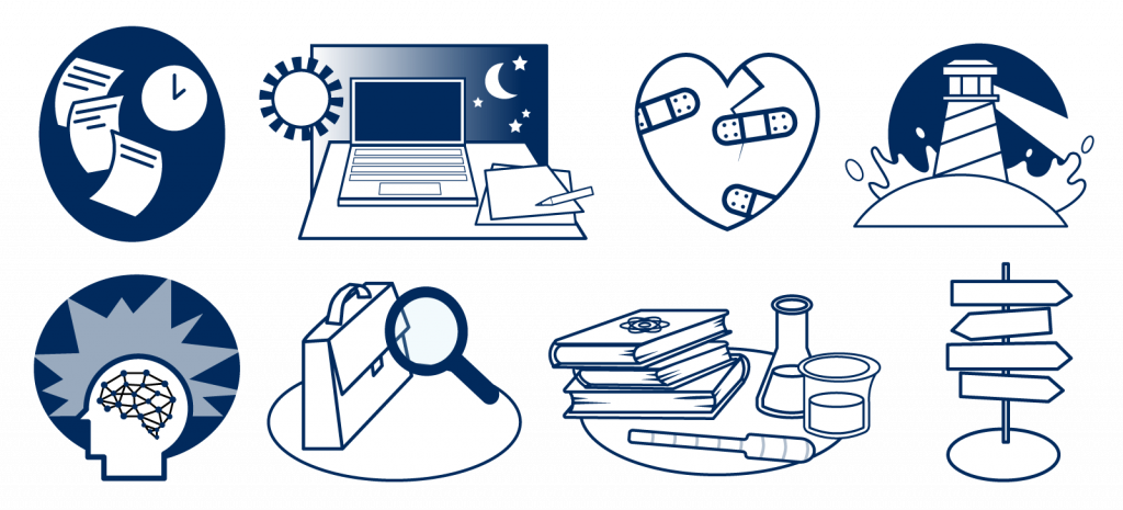 A collection of eight icons in order from left to right: flying papers, laptop, bandaged heart, light house, side profile, laptop and magnifying glass, a stack of chemistry books and beakers, and signs pointing in different directions.