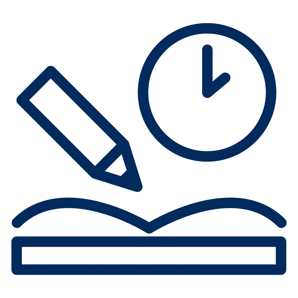 An open book with a pencil and a clock on top