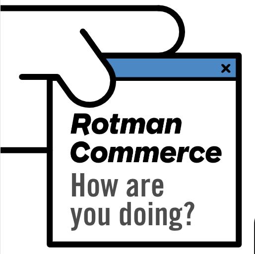 Hand holding a sticky note that says: Rotman Commerce - How are you doing?
