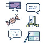 A series of icons representing departments in Arts  Science, such as a computer, math, a DNA strand, and more.
