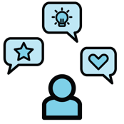 An illustration of an individual, with conversation bubbles surrounding them with a heart, idea, and lightbulb in each.