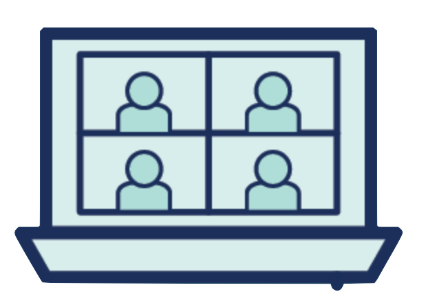 A computer with four icons of individuals on the screen in a zoom meeting.
