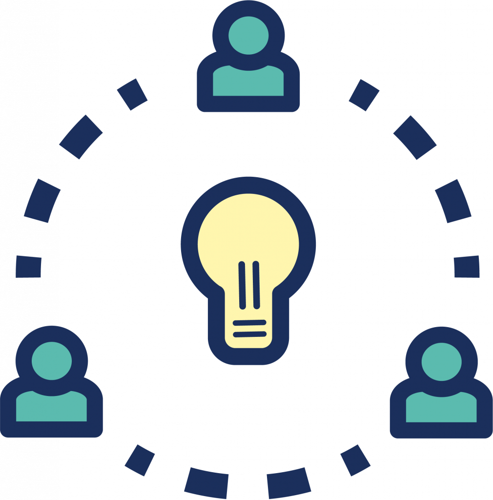 Three icons of individuals connected, surrounding a lightbulb to represent innovation and collaboration