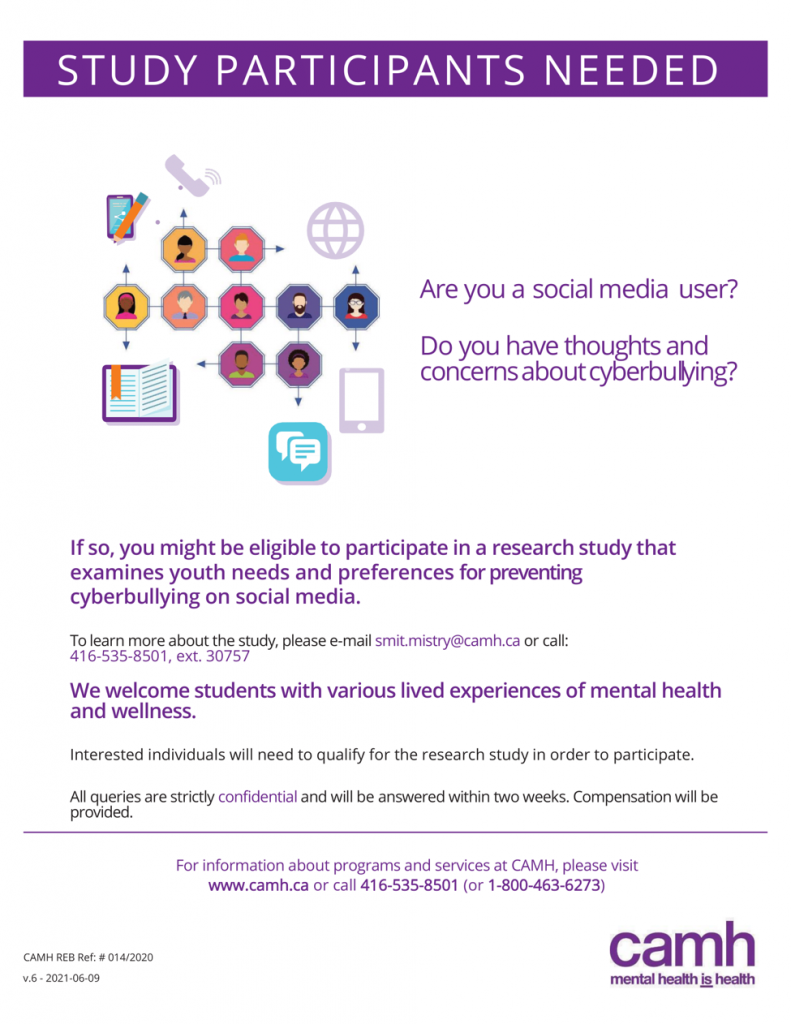 A purple and white poster that reads 'Study Participants Needed'. There are details about the study described in the body text of the post.