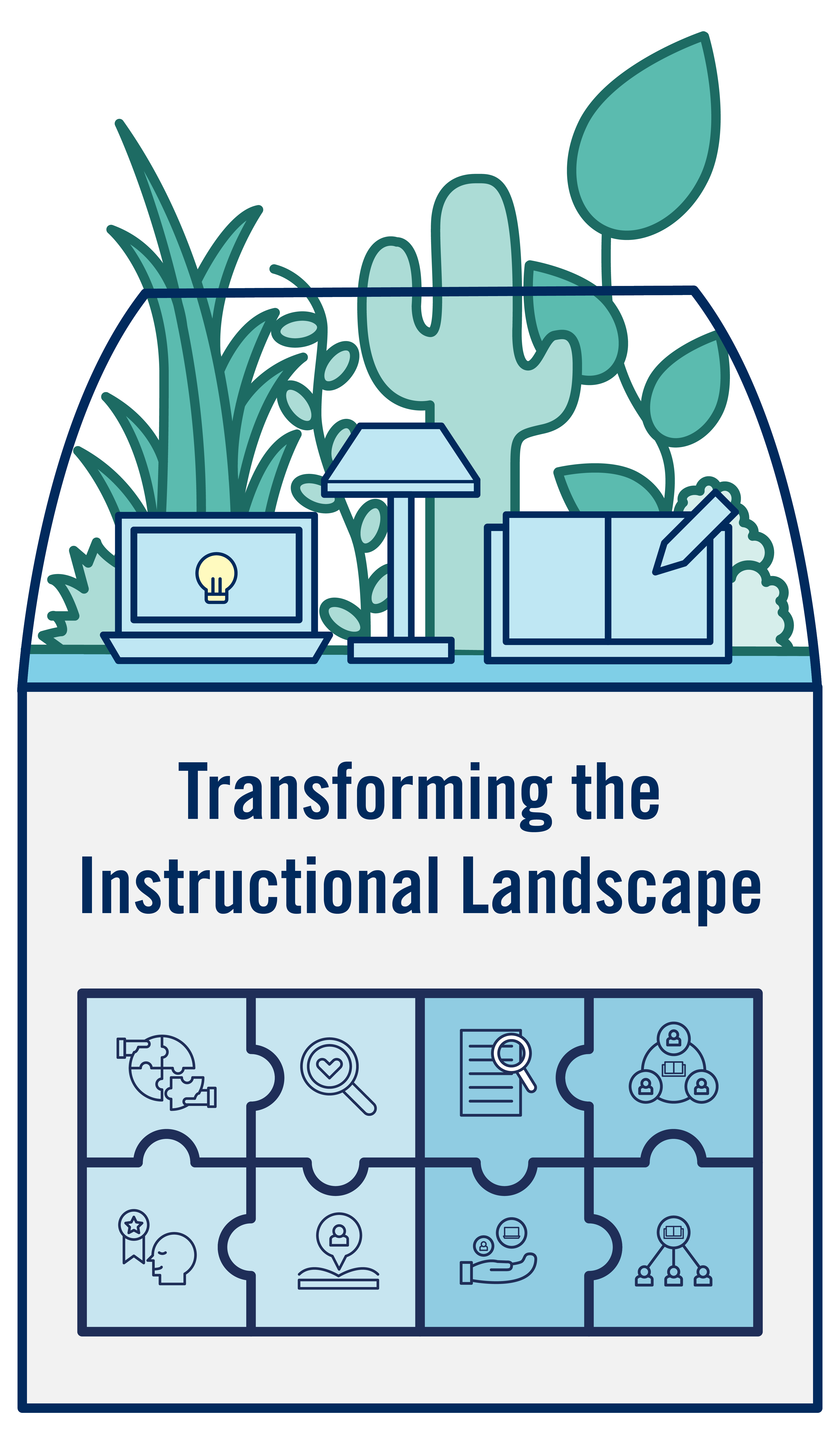 An illustration of a terrarium that represents the core principles of Transforming the Instructional Landscape