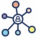 Icon of a person with connecting circles reaching outwards.