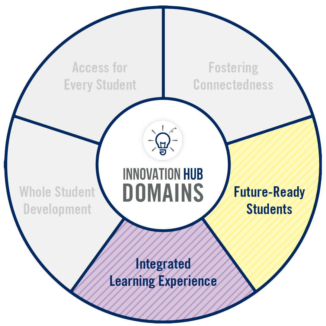 A circular graphic representing the domains of innovation associated to this project.