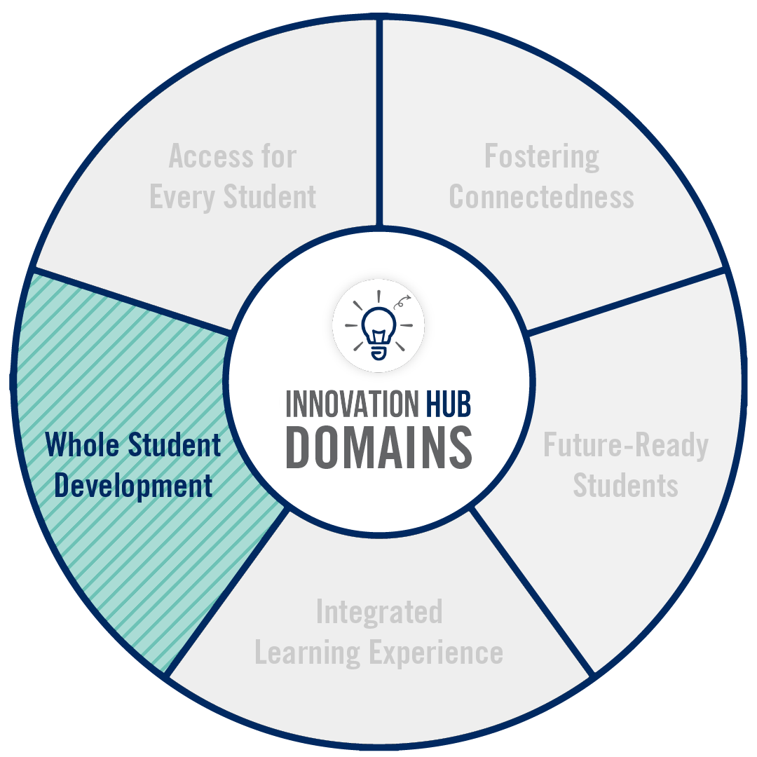 A circular graphic that highlights the domains of innovation associated with this project.