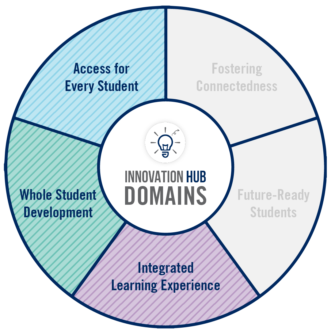 A circular graphic that highlights which domains of Innovation are associated with the project