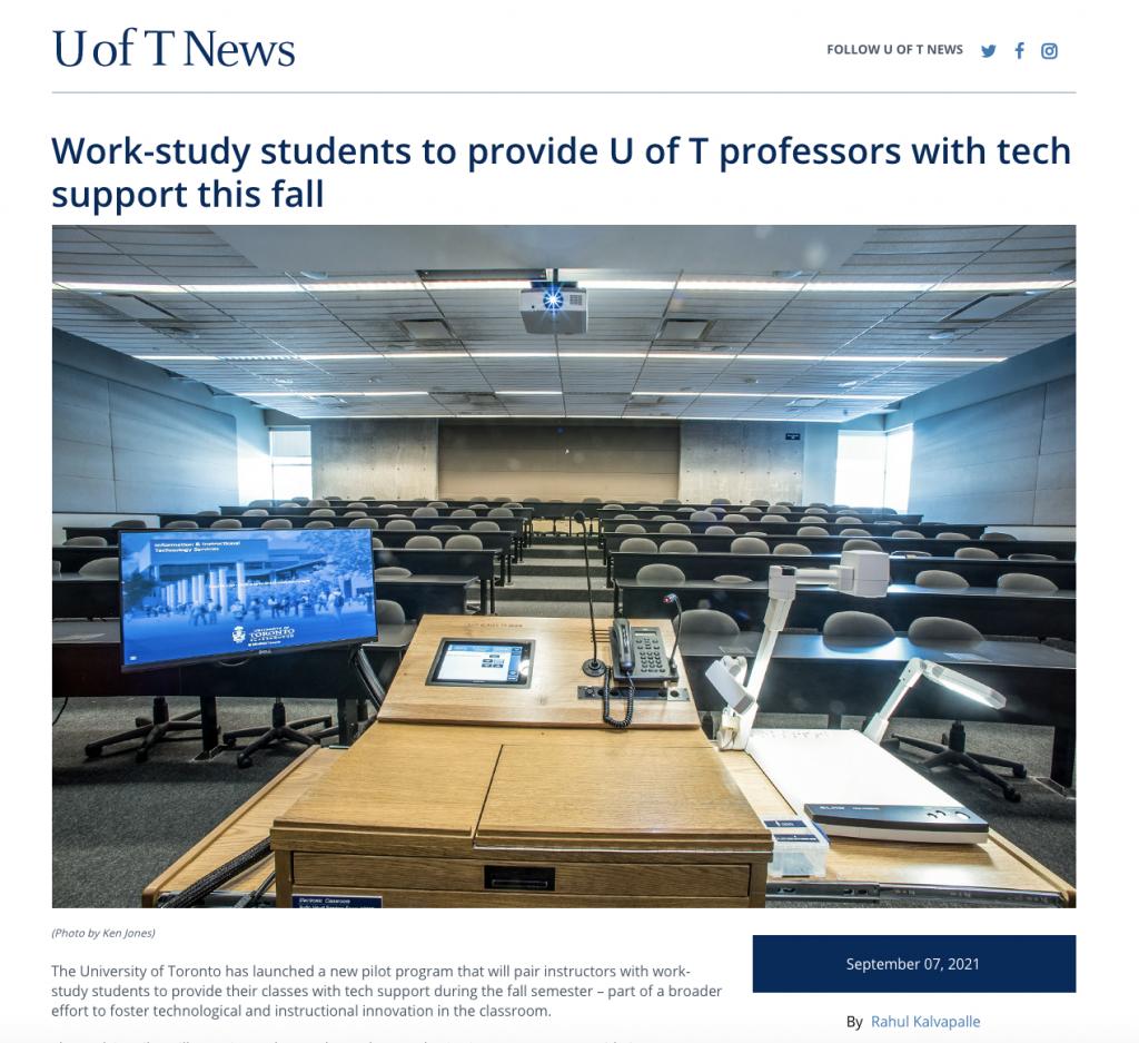 A screenshot of the U ofT News webpage.