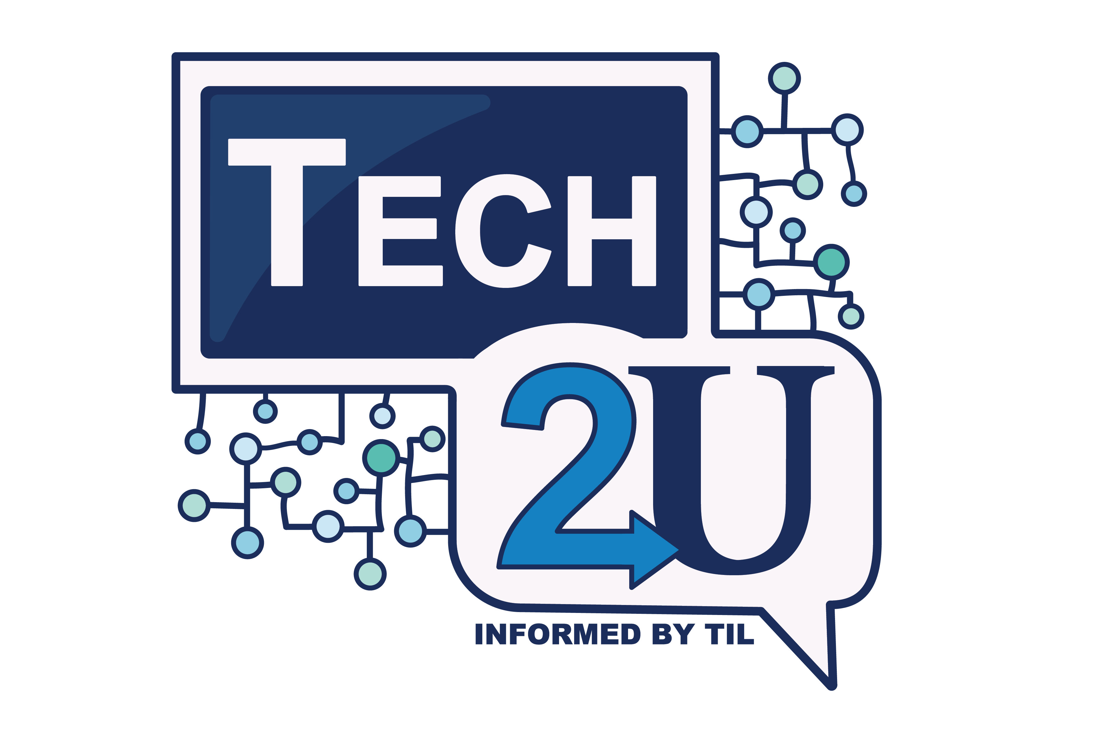 Logo representing Tech2U with a blue and white tablet and a conversation bubble overlapping.