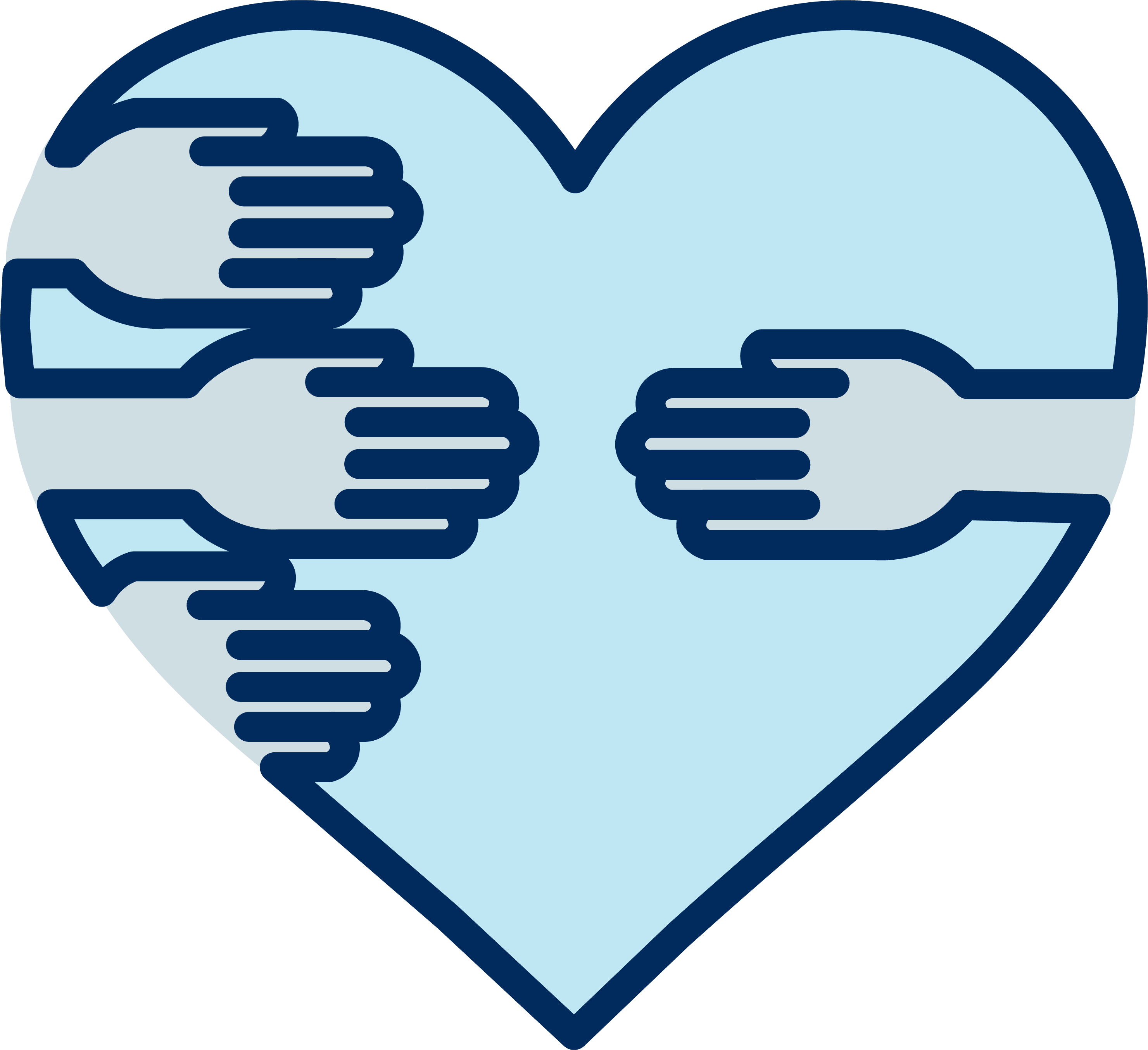 An illustration of hands reaching around a heart towards another individual