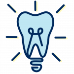 Illustration of a lightbulb that is in the shape of a tooth