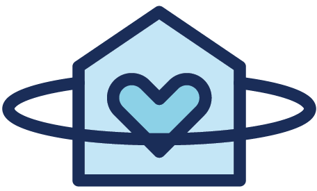 An illustration of a house with a heart in it