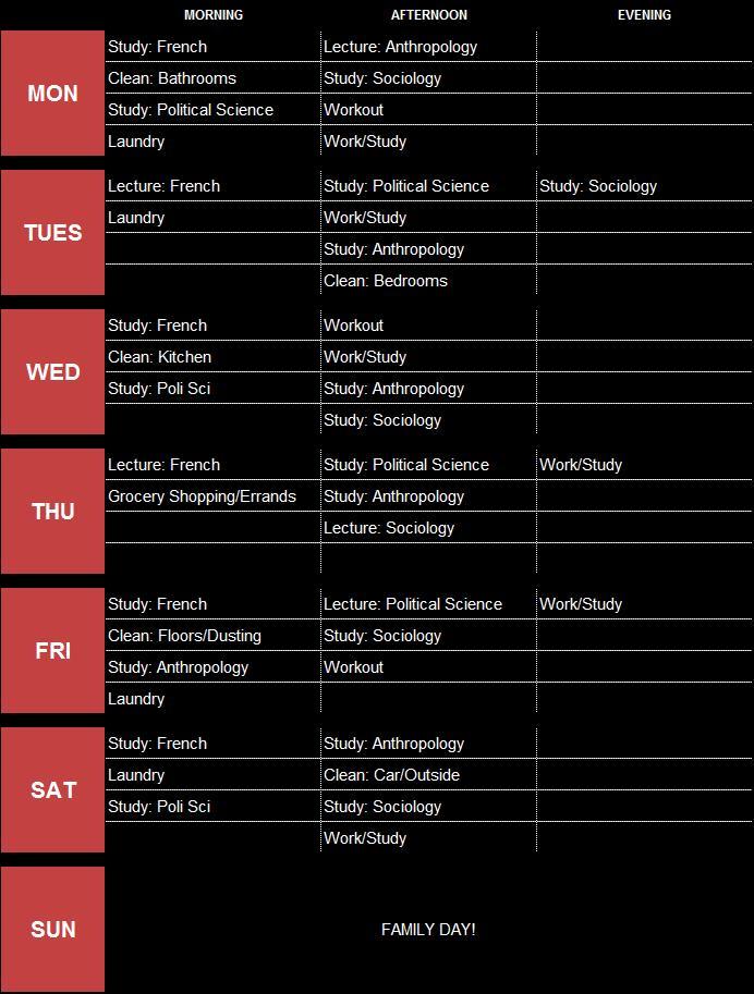 Weekly Schedule List